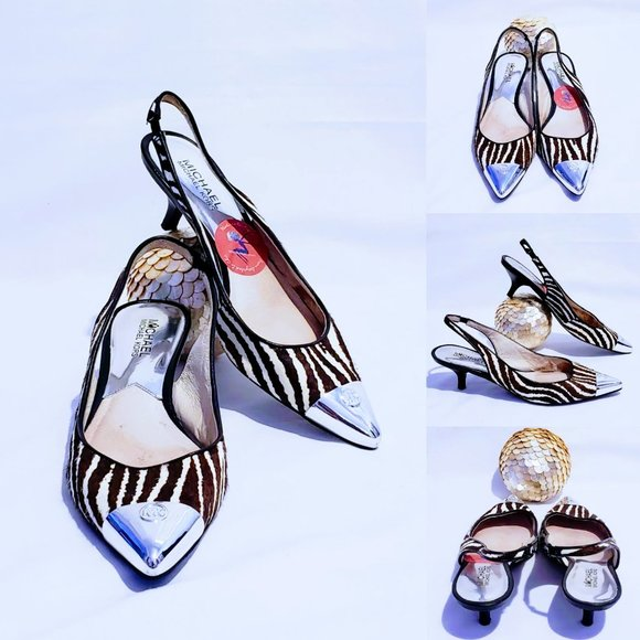 Michael Kors Shoes - MK Calf Hair Zebra Print Sling Back Kitten Heels💋